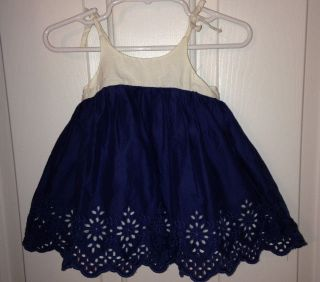 Baby Gap Girls 6 12 Months Blue White Eyelet Dress Summer Beach Outfit