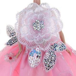 3X Pink Princess Party Elegant Clothes Dress Gown w Sequin for Barbie Dolls