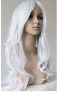 New Long Wavy Silver White Cosplay Party Hair 80cm Wig