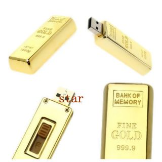 Gold Bar USB 2 0 Flash Memory Drives 4GB 8GB 16GB 32GB Stick Pen Thumb