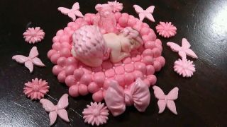Fondant Edible Baby Pink Baptism Cake Topper Baby Shower B Day 1st Princess