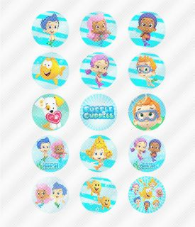 A505 Edible Image Birthday Decor Cake Cookie Cupcake Toppers Bubble Guppies Fish