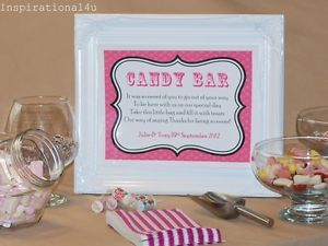 Fuchsia Personalised Wedding Party Candy Buffet Table Sweet Bar Sign