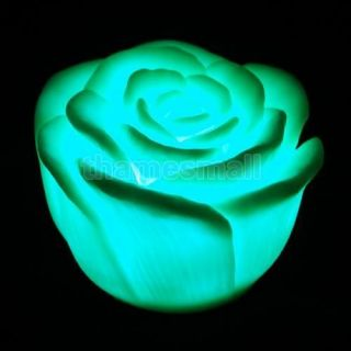 5X Romantic Rose Flower Shape 7 Color Changing Glow LED Light Lamp Home Decor