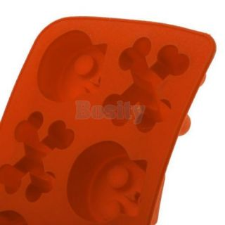 Skeleton Skull Crossbone Bone Shape Ice Cube Mold Maker Tray Freeze Party Drink