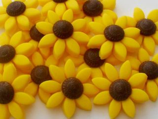 Set 12 Embossed Sunflowers Handmade Edible Sugar Cupcake Toppers Decorations