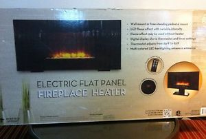 Big Electric Flat Panel Wall Mount Fireplace Heater Free Stand LED Flame New