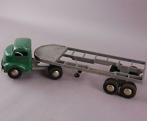 Vintage Smith Miller Smitty Toys Green Flatbed Trailer Hauler Truck 109 1800