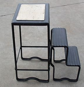 Antique Vintage Metal Step Stool Industrial Steampunk Folding Steps Machine Age