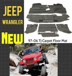 97 06 Jeep Wrangler TJ Carpet Floor Mat Grey 6pcs Front Rear Heel Pad Full Set