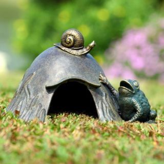 Toad House with Snail Garden Sculpture Statue Heavy Cast Aluminum Frog 11 5""