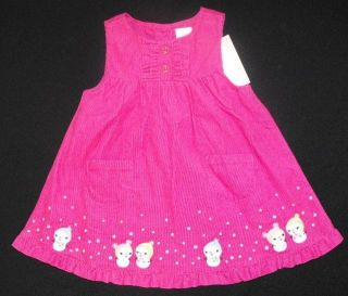 New Girls Gymboree Pink Corduroy Snowman Dress Size 6 12 Months