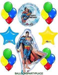 Superman Balloons Mylar Bouquet Happy Birthday Party Supplies Latex Decorate