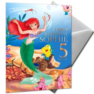 The Little Mermaid Ariel Personalised Birthday Card Large A5 Envelope