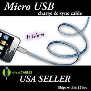 Black Micro USB Cell Phone Smart Charger Glow Cable Light Up LED Glo