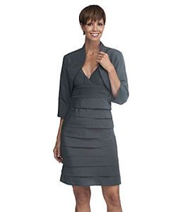 Mother of The Bride Gray Bolero Jacket Dress Set 16