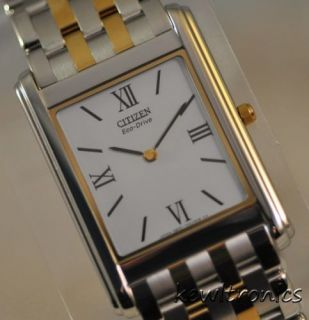 New Mens Citizen Eco Drive AR1004 51A Stiletto White Dial Two Tone Dress Watch
