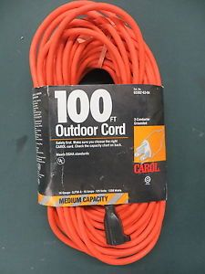Carol 100 Foot Outdoor Extension Cord Bright Orange 16 Gauge SJTW A 10 Amps