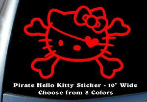 Hello Kitty Pirate Heart Eye Patch Car Decal Window Sticker Car Cute Funny