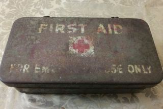 Military Old U s Army First Aid Kit Medical Metal Box Vintage WW1 WW2 WWI WWII