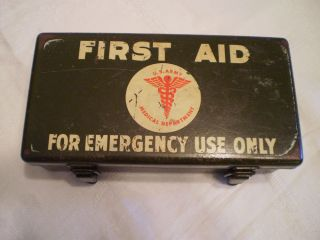Vintage Military Old U s Army First Aid Kit Metal Medical Box