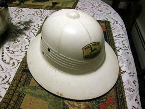 Vintage John Deere Quality Farm Equipment White Fiberglass Wide Brim Hard Hat
