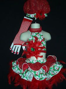 Pageant Casual Wear Christmas Glitz Santa Feathers 12mth 18 2T Petite 7pc