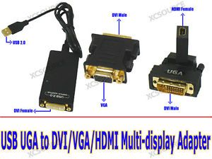 USB Cable UGA to DVI HDMI VGA Adapter Multi Display Graphics for TV LCD PC AC12