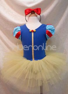 Girls Kid Snow White Fairy Dress Party Costume Ballet Tutu Free Headband Sz 2 10