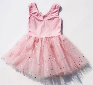 Child Girl Ballet Dance Skate Costume Sleeveless Tutu Dress Skirt Bowknot Paille