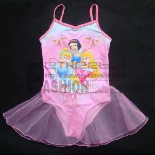 Disney Princess Girl New Gymnastics Leotard Ballet Tutu Skirt Skate Dress 5 7Y