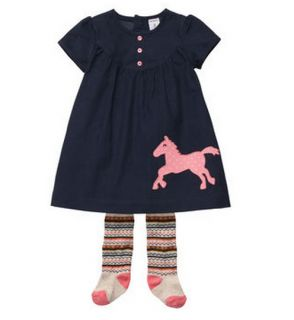 Carters Baby Girl Clothes Dress Tights Blue Pink Horse 3 6 9 12 18 24 Months
