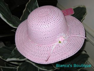 "New ""Pastel Pink"" Dress Up Party Girls Easter Straw Hat Clothes Toddler Kids Tea"