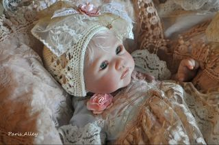 Blue Rose French Lace Dress Hat Blanket 4 Reborn Baby Doll