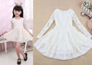 2013 New Kids Baby Girls Wedding Party Lace Full Dress Princess Skirts 2 7Years