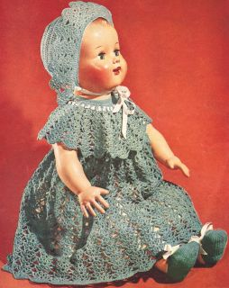 Vintage Crochet Pattern to Make Baby Doll Dress Hat Shoes 22 16 Inch