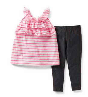 Carters Baby Girl Clothes 2 Piece Set Pink Black 3 6 9 12 18 24 Months