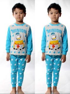 "New Kids Boys Girls Suit Baby Sleepwear ""Minions Despicable Me"" Pajama Set 5T"