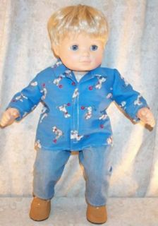 "Doll Clothes Baby Fit Girl Boy 15"" 16"" inch Bitty Jeans Shirt Dalmatians Blue"