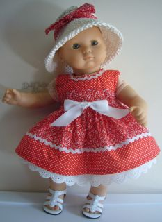 "Sale Doll Clothes Fits 15"" Bitty Baby Red Polka Dot Dress Hat Bargain"