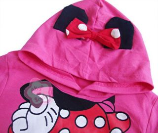 Toddler Girls Hoodie Coat Kids Minnie Mouse Bow T Shirt Costume Tail 2T 6