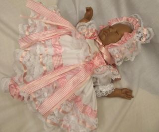"Dream Newborn Baby Girl White Pink Gingham Dress Bonnet 17 19"" Reborn Dolls"