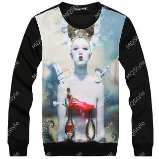 Mens Casual Crewneck Idol Print Long Sleeve Hip Hop Stylish Shirts Hoodies N508