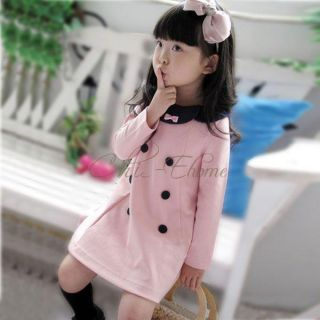 Girls Toddler Long Sleeve Double Breasted Dress School Autumn Costume 2 7 Years