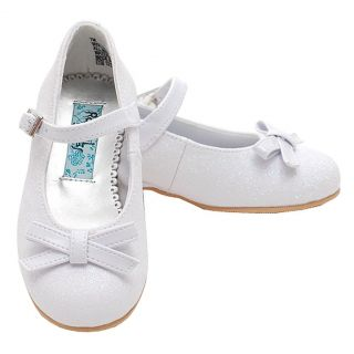 Rachel Toddler Girls 7 White Glitter Bow Heel Dress Occasion Shoes