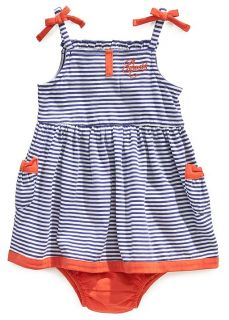 Guess Designer Baby Girl Clothes Dress Navy Blue Red Stripes 24 Months