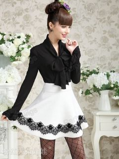 New Womens White Black Bow Knot OL Shirt Slim Fit Tops Blouse Size s XXL TS5