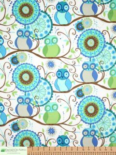 Free Spirit Della Flannel Owl Friends Ocean Baby Kids Cotton Quilt Fabric Yards