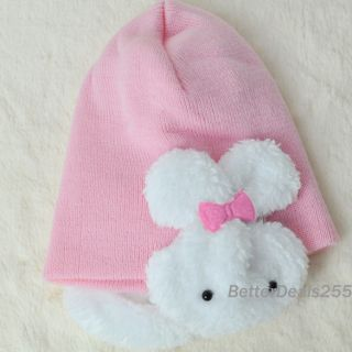 Winter Ear Flap Warm Beanie Cap Crohet Rabbit Hat Baby Boys Girl Toddler Kids