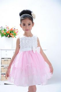 Casual Baby Girls Tutu Layered Applique Bow Formal Dress Kids Princess Skirts
